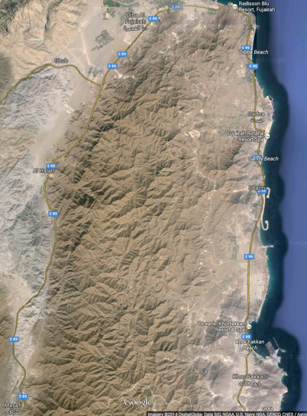 Bottom left is Masafi, where we stopped to explore for lunch. Just north of the bay of Khor Fakkan is the beach where we camped. Top right is the Radisson Blu
